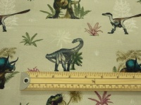 NHM dinosaur grey cotton print