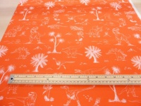 NHM dinosaur orange cotton print